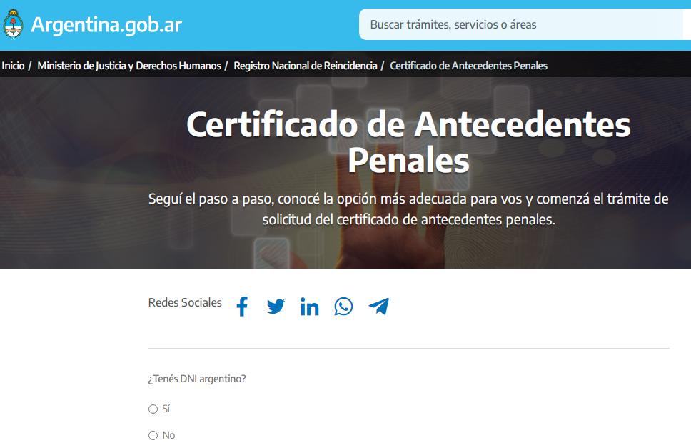 Turno para certificado de antecedentes penales